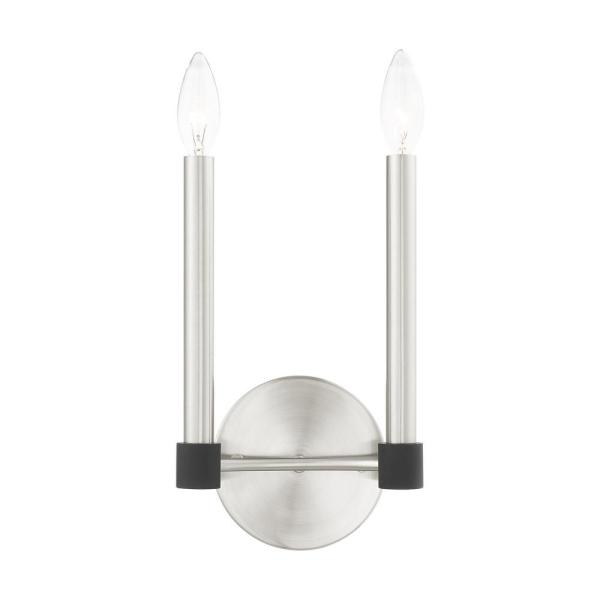 Karlstad 2 Light Brushed Nickel with Satin Brass Accents Sconce