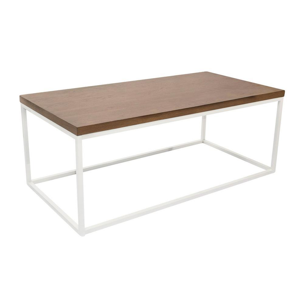 Doxa Oak Wood with Matte White Metal Frame Coffee Table