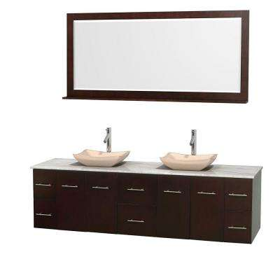 Centra 80 in. Double Vanity in Espresso with Marble Vanity Top in Carrara White, Ivory Marble Sinks and 70 in. Mirror