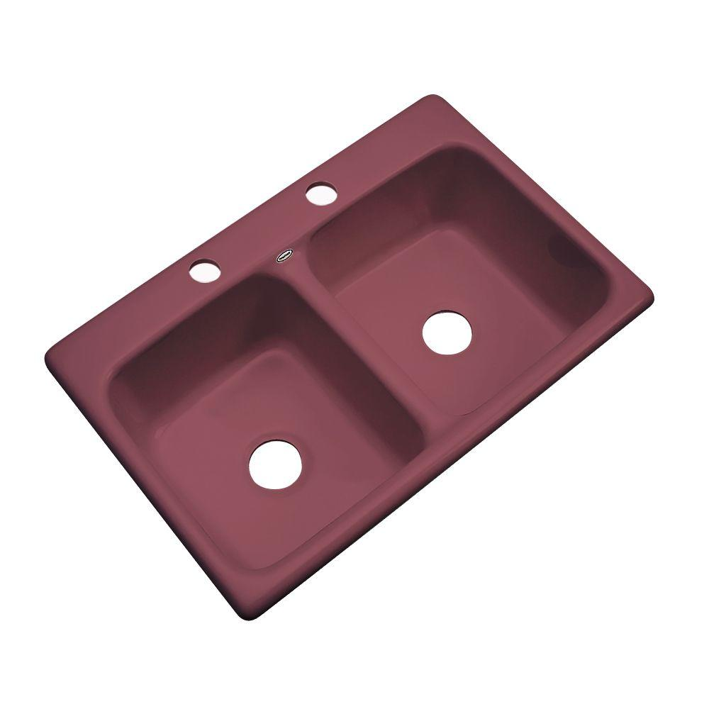 Thermocast Newport Drop-In Acrylic 33 in. 2-Hole Double Bowl Kitchen Sink in Raspberry Puree