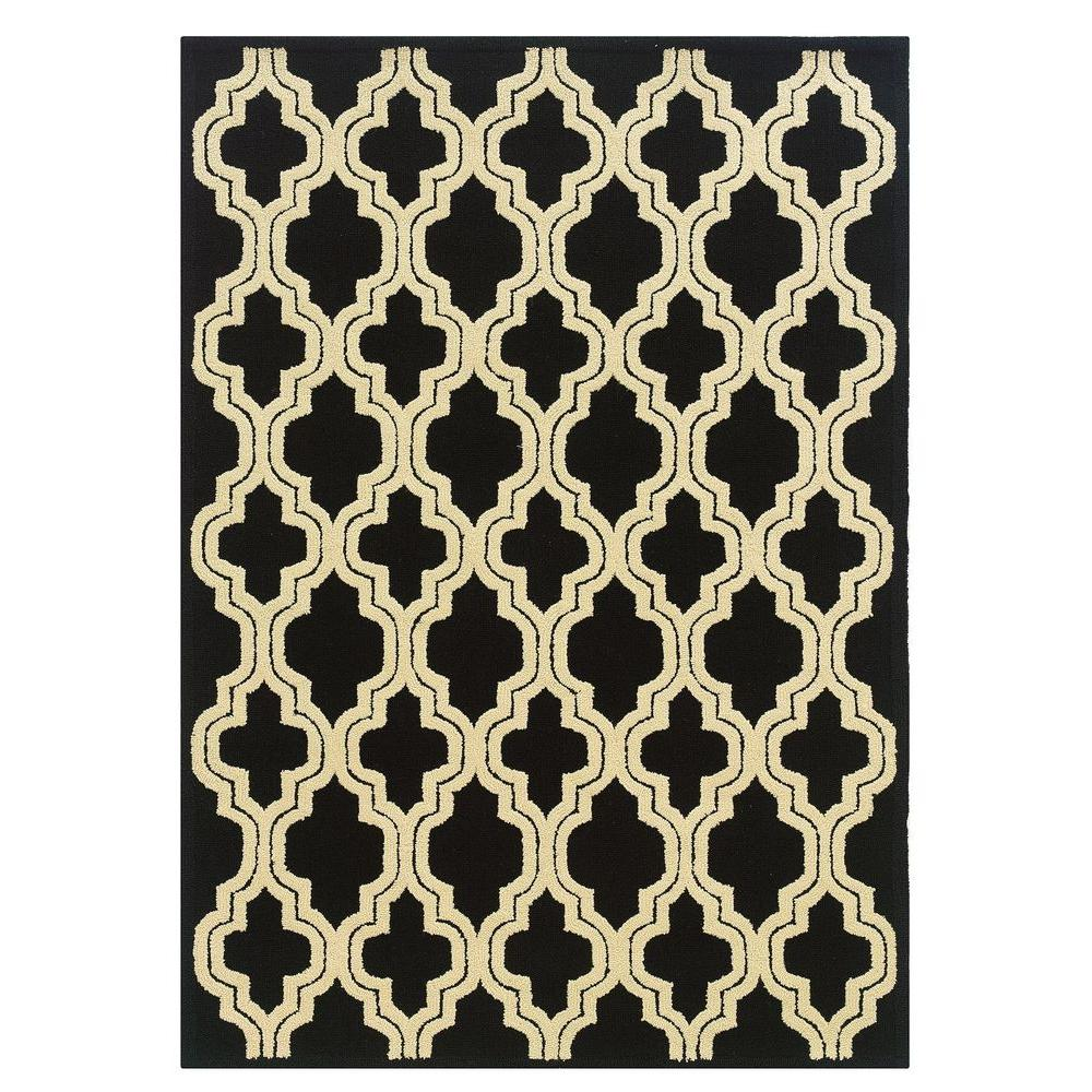 Linon Home Decor Le Soliel Collection Black and Ivory 5 ft. x 7 ft. Outdoor Area Rug