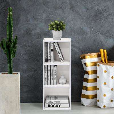 White 3-Tier Open Shelf Bookcase
