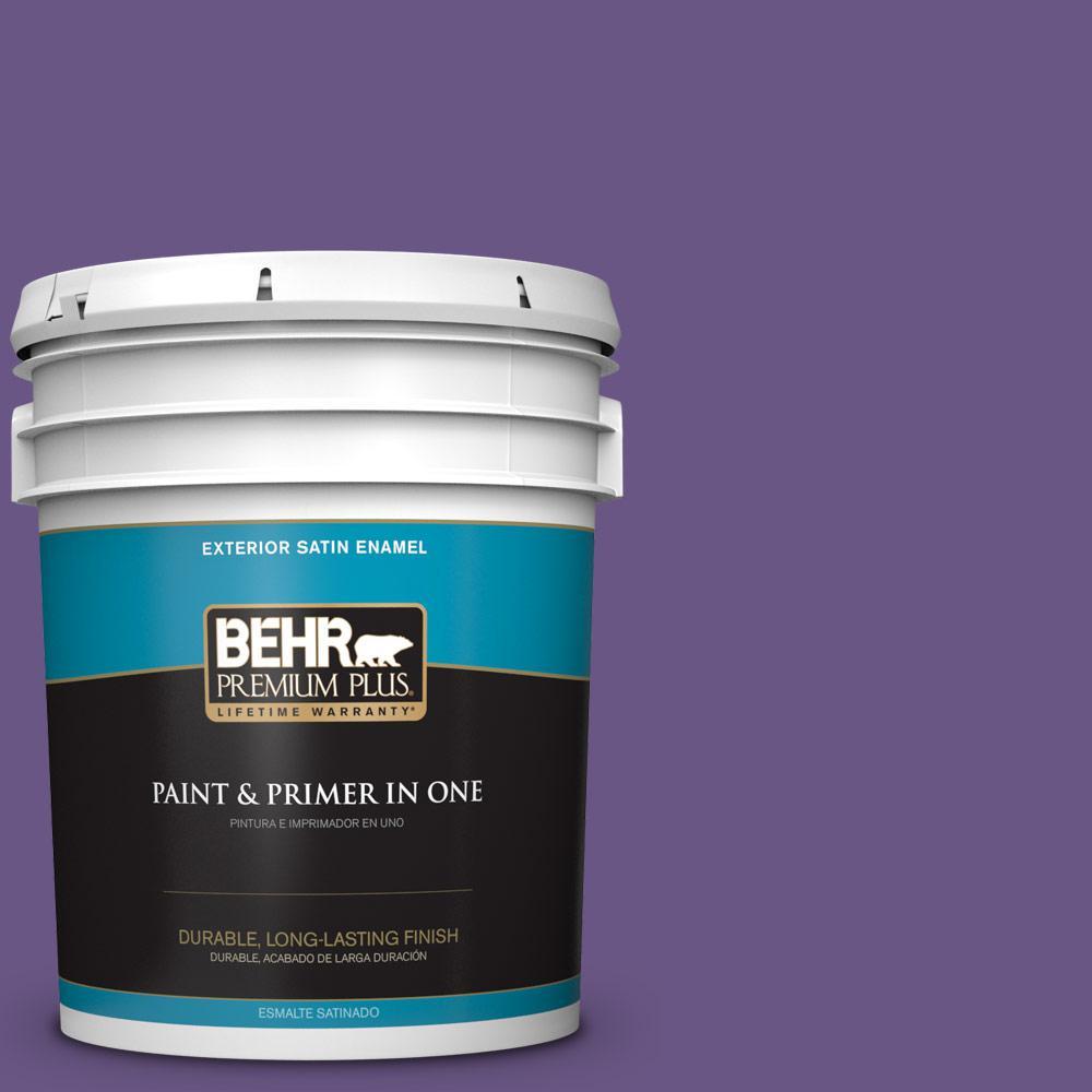 5 gal. #PPU16-02 Vigorous Violet Satin Enamel Exterior Paint