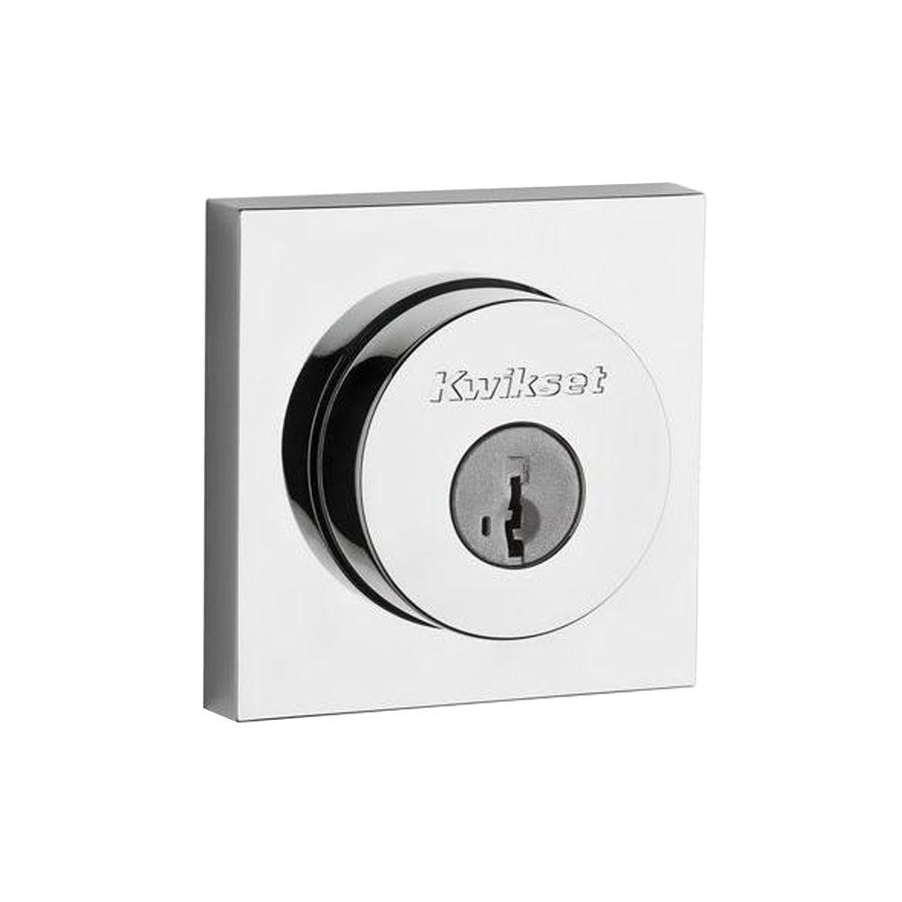 Kwikset Square Contemporary Polished Chrome Single Cylinder Deadbolt Featuring SmartKey Security was $26.64 now $13.32 (50.0% off)