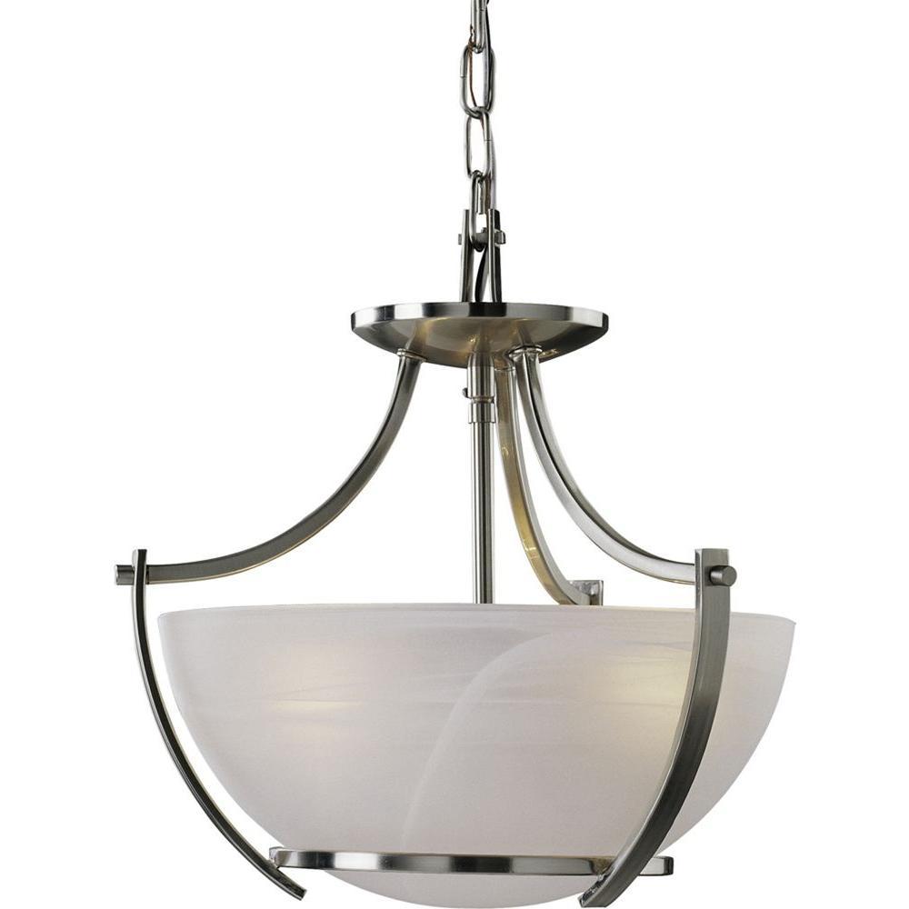 Volume Lighting Durango 3 Light Brushed Nickel Interior Pendant V4833 33 The Home Depot
