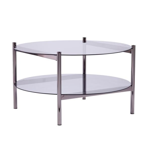 Xendor 33 in. Black/Smoked Glass Medium Round Glass Coffee Table with Shelf