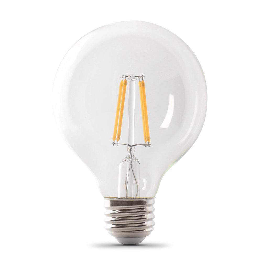 60-Watt Equivalent G25 Dimmable Filament ENERGY STAR Clear Glass LED Light Bulb, Soft White