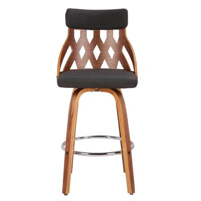York 26 in. Walnut and Charcoal Swivel Counter Stool