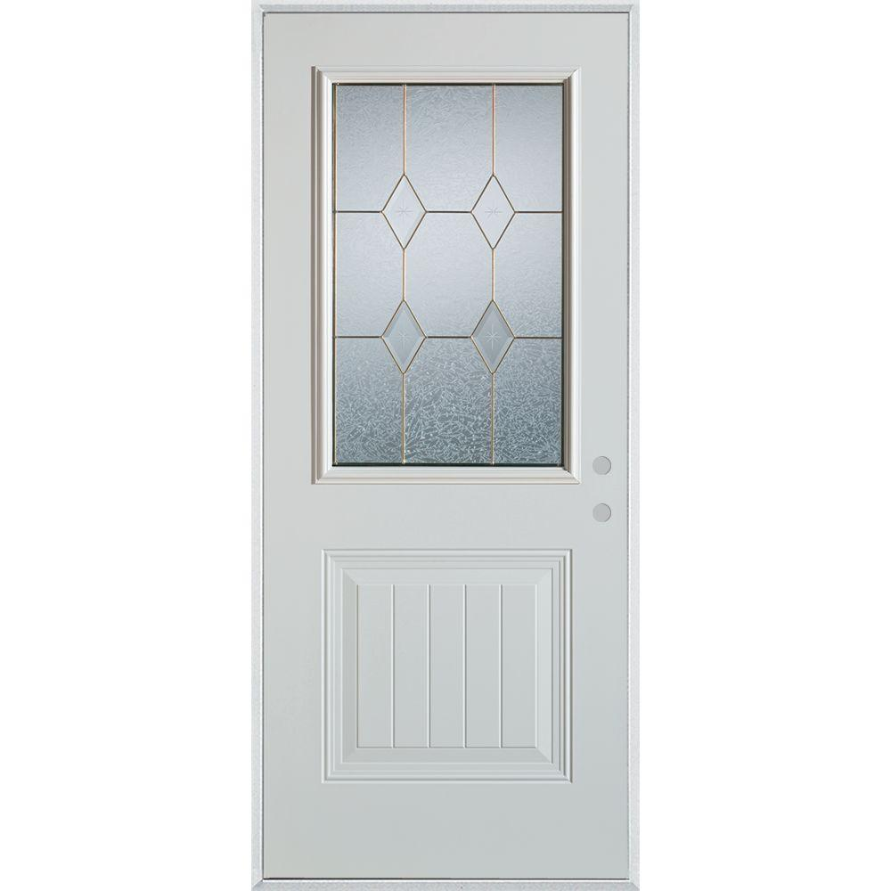 37.375 in. x 82.375 in. Geometric Patina 1/2 Lite 1-Panel Painted