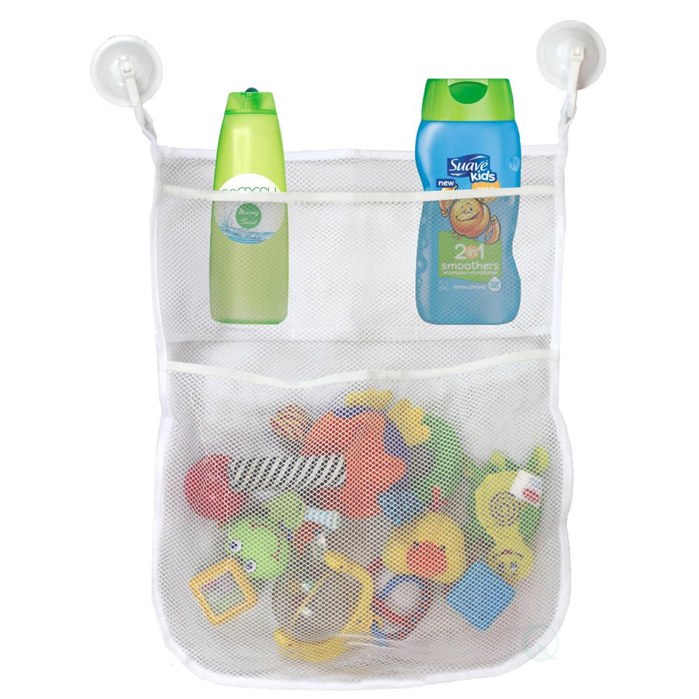 Basicwise 4-Section White Bath Toy Organizer with 2-Bonus Super Strong Hook