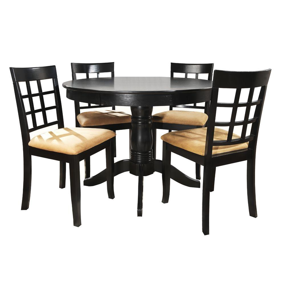5pc Set Round Dinette Kitchen Table W 4 Microfiber: HomeSullivan 5-Piece Black Dining Set-40122D901W[5PC]712W
