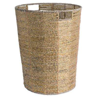 Round Woven Seagrass Decorative Bin