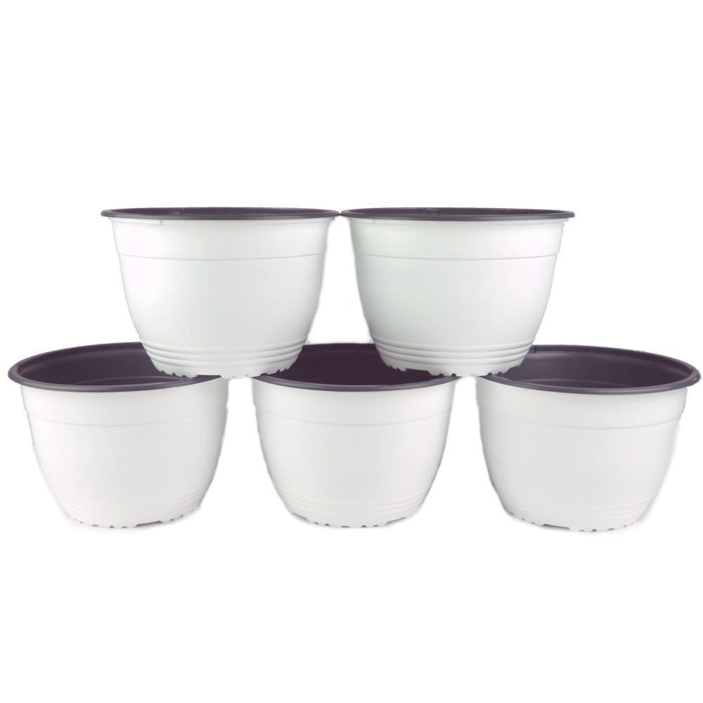 7.5 in. White Round Nursery Pot (Box of 5)