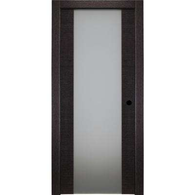 30 in. x 80 in. Avanti 202 Black Apricot Left-Hand Solid Core Wood 1-Lite Frosted Glass Single Prehung Interior Door
