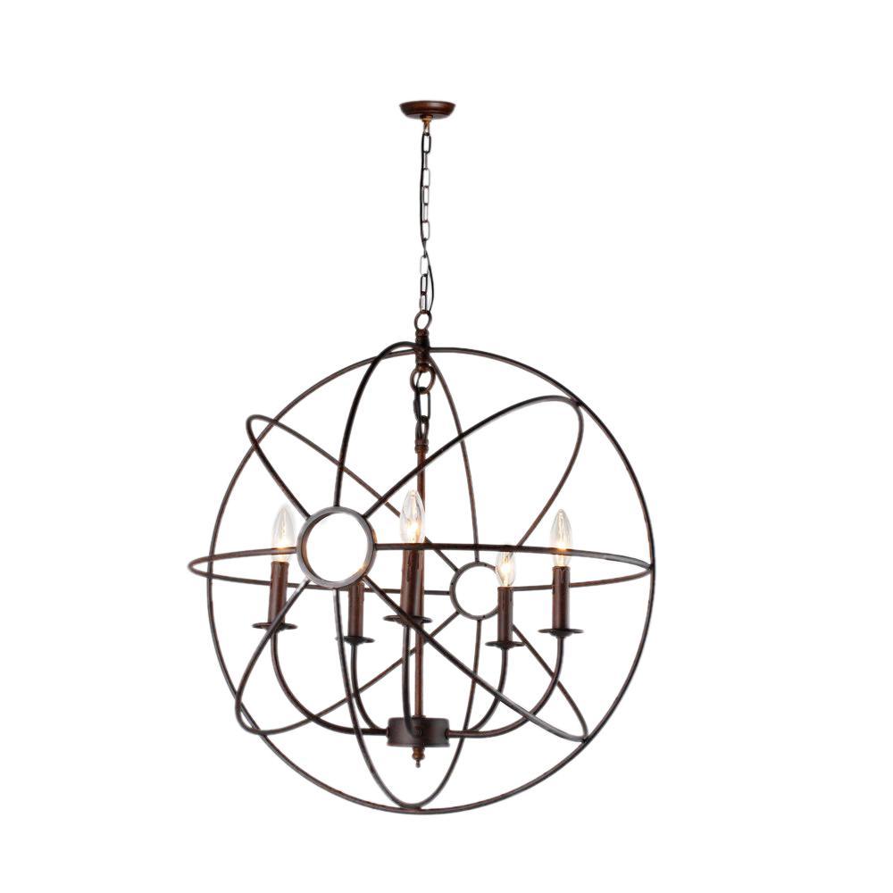 Infinity 5-Light Rustic Bronze Mini Chandelier