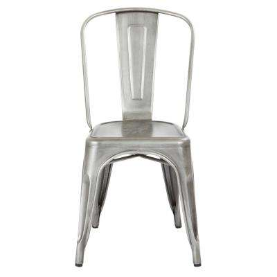 Bristow Brushed Silver Armless Metal Chair (2-Pack)
