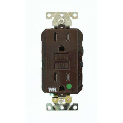 15 Amp SmartlockPro Hospital Grade Extra Heavy Duty Weather/Tamper Resistant Duplex GFCI Outlet, Brown