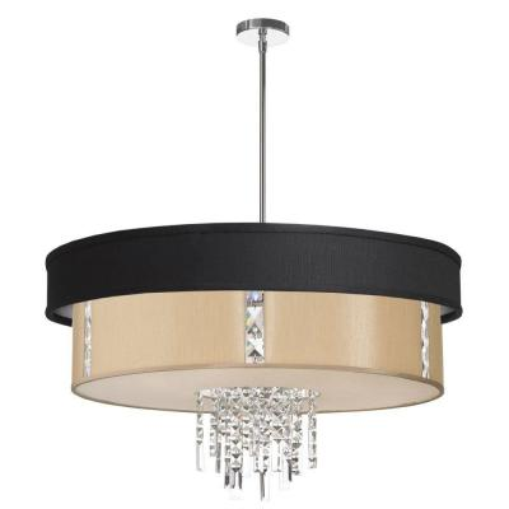 Rita 4-Light Polished Chrome Crystal Pendant with Black and Cream Shade