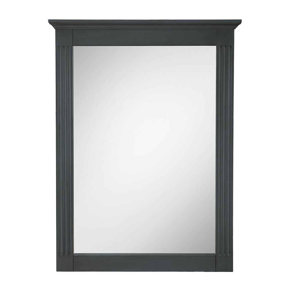 19 in. W x 26 in. H Framed Rectangular  Bathroom Vanity Mirror in Charcoal Grey