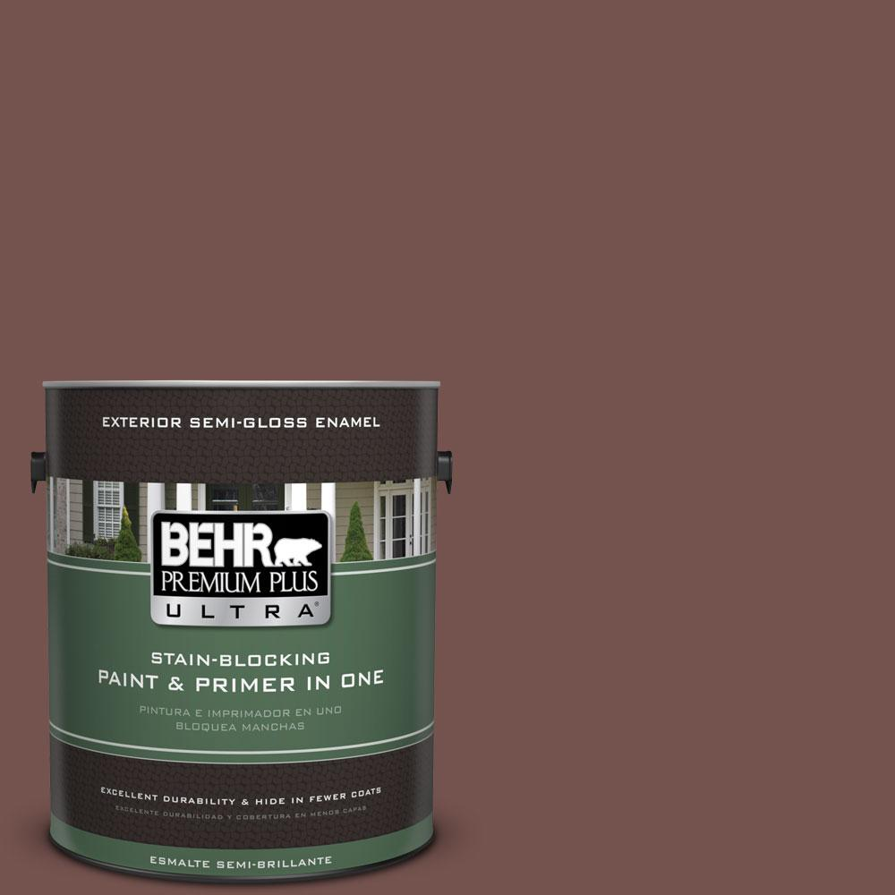BEHR Premium Plus Ultra Home Decorators Collection 1-gal. #HDC-CL-12 Terrace Brown Semi-Gloss Enamel Exterior Paint