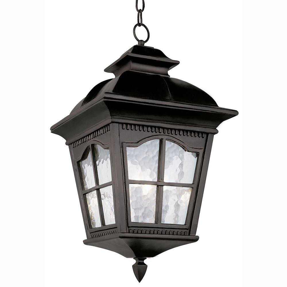 Bel Air Lighting Bostonian 4-Light Outdoor Hanging Black Lantern with Water Glass