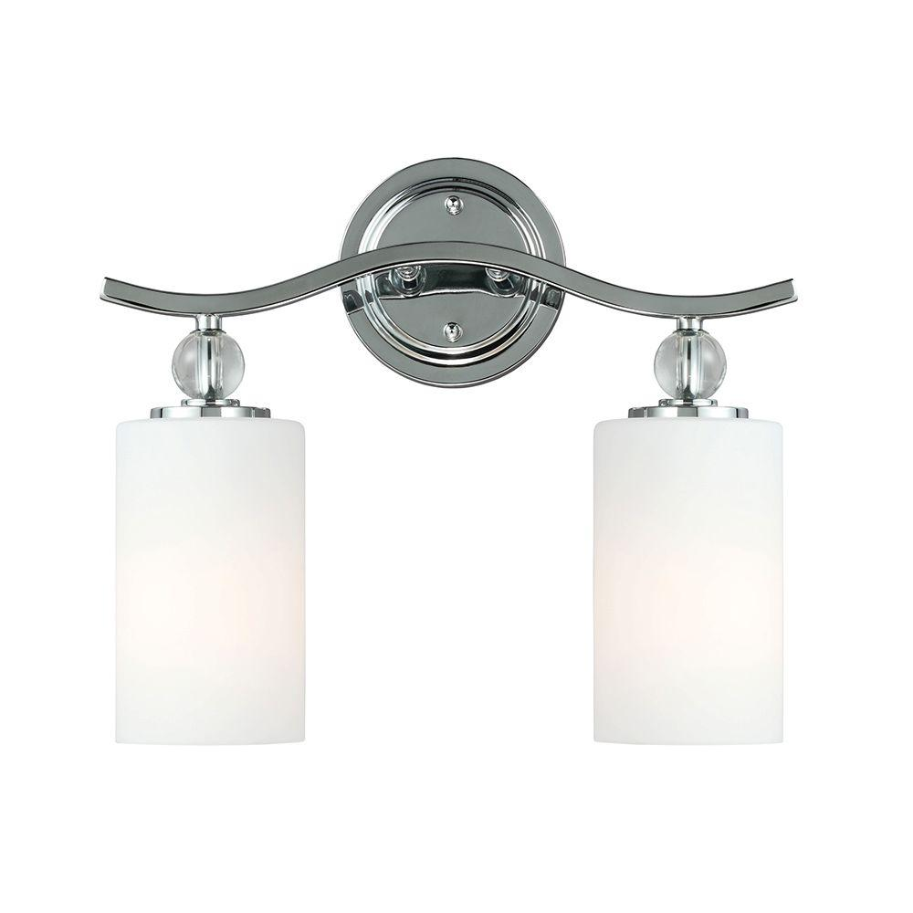 Englehorn 2-Light Chrome Wall/Bath Fixture with Inside White Painted Etched