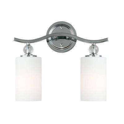 Englehorn 2-Light Chrome Wall/Bath Fixture with Inside White Painted Etched Glass