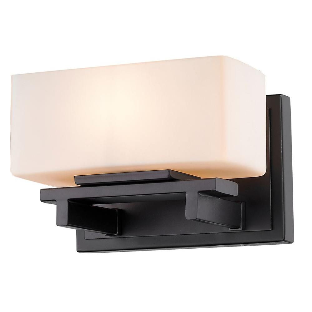 Vincentina 1-Light Bronze Steel Modern Sconce with Matte Opal Glass Shade,