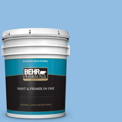 Behr Premium Plus 5 Gal P520 3 Toile Blue Semi Gloss Enamel Exterior Paint And Primer In One 505005 The Home Depot