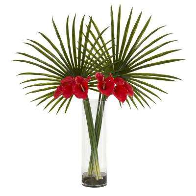 Indoor Fan Palm and Calla Lily Artificial Arrangement