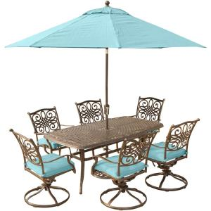 Hanover Traditions 7-Piece Outdoor Dining Set with Rectangular Cast Table and Swivels with Blue Cushions,... by Hanover