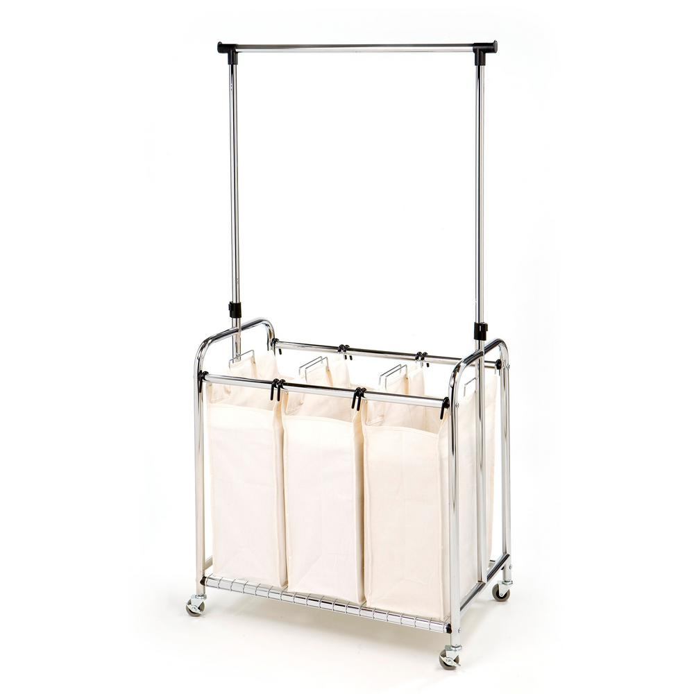 3-Bag Laundry Sorter with Hanging Bar