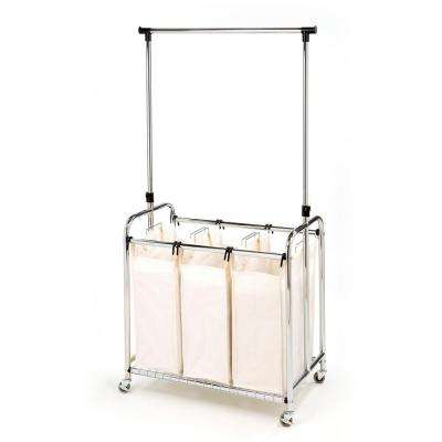 3-Bag Heavy-Duty Laundry Hamper Sorter Cart with Clothes Rack