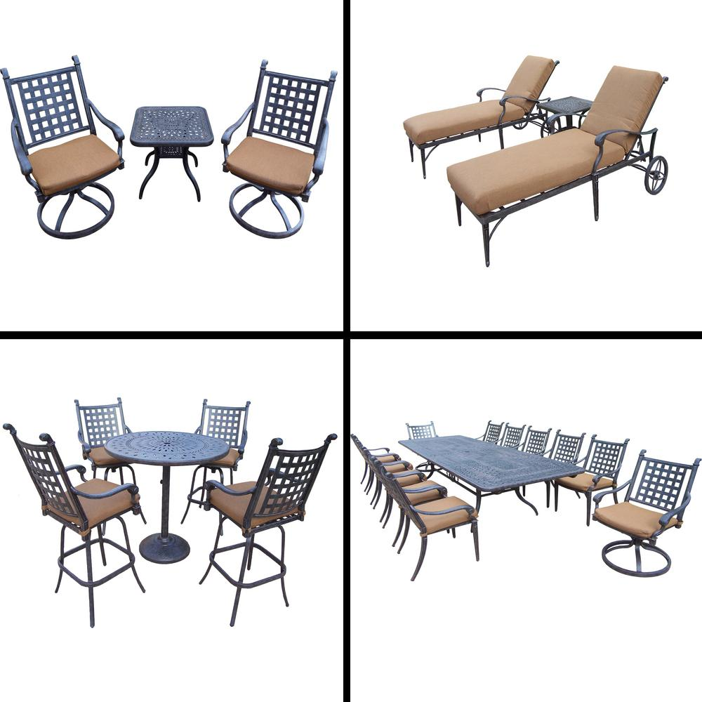 Belmont 24-Piece Aluminum Outdoor Dining Set with Sunbrella Brown Cushions
