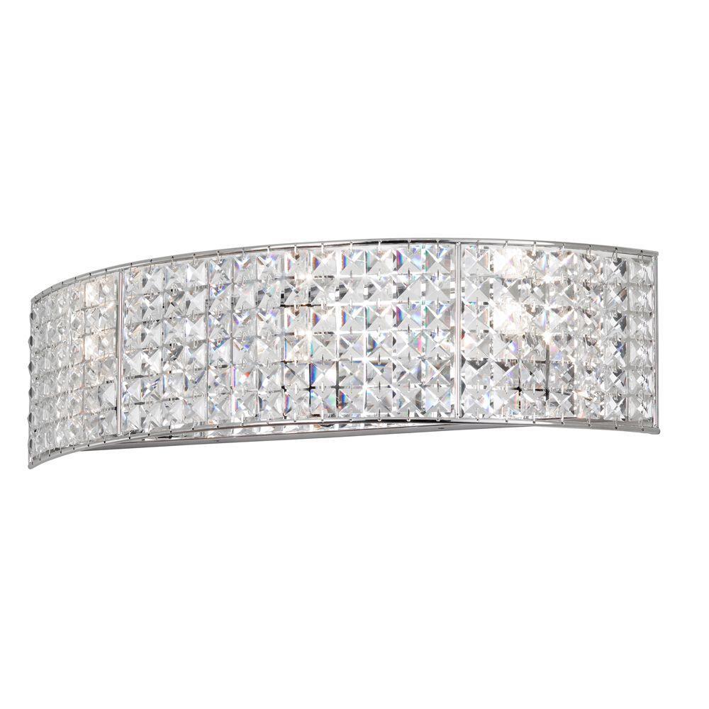 Mila 3-Light Polished Chrome Vanity Light