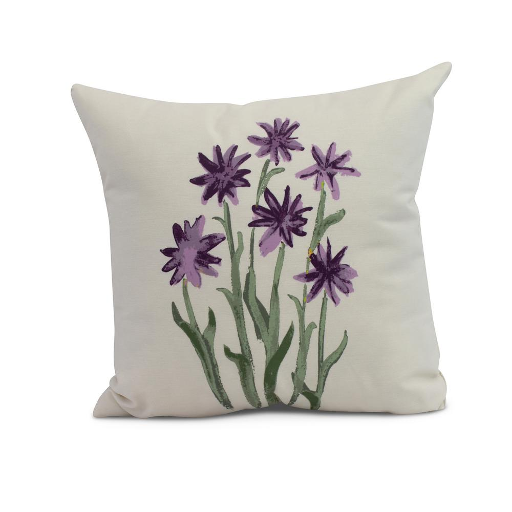Daffodils 20 in. Purple Decorative Floral Throw Pillow