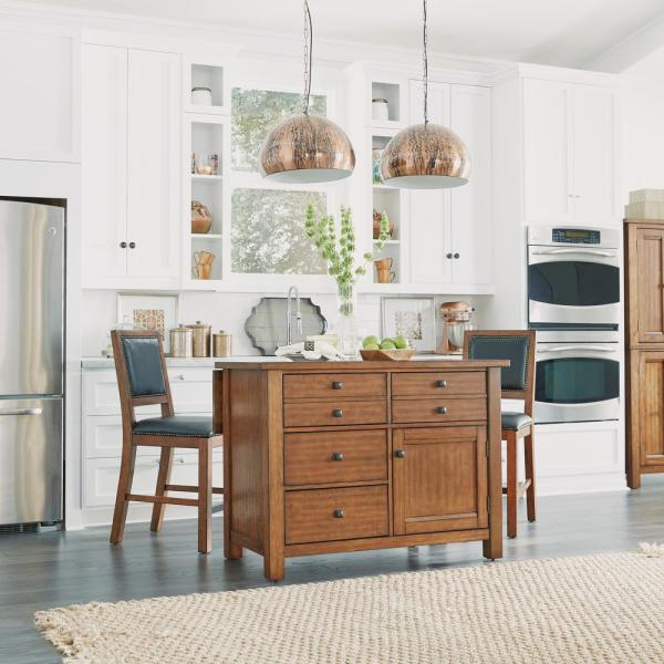 Home Styles Tahoe Aged Maple Kitchen Island With Wood Top And Bar Stools
