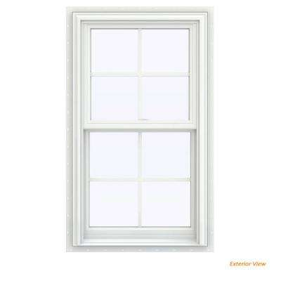 23.5 in. x 47.5 in. V-2500 Series White Vinyl Double Hung Window with Colonial Grids/Grilles