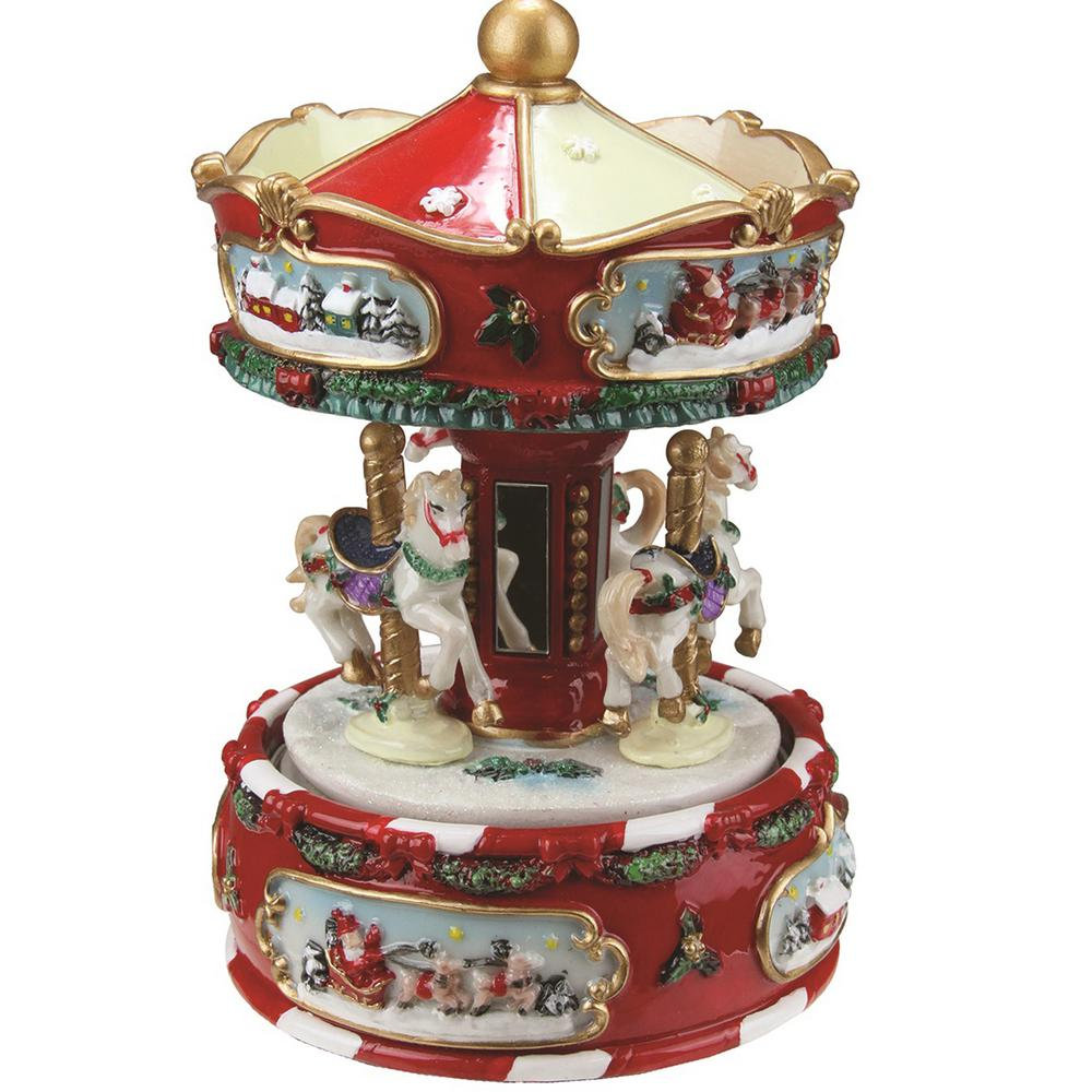 Northlight 6 25 In Animated Musical Carousel With Canopy