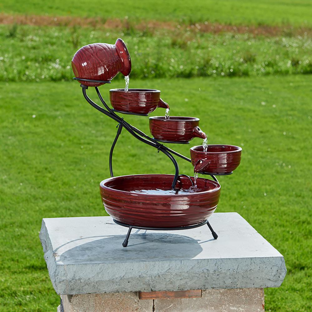 Smart Solar Lava Red Finish Lava Ceramic Solar Cascade Fountain