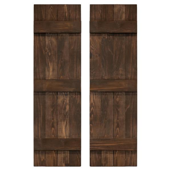14 in. x 72 in. Board and Batten Traditional Shutters Pair Coffee Brown