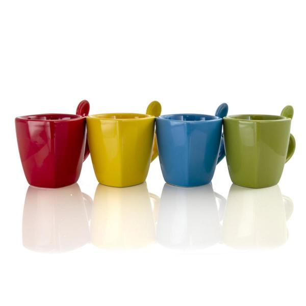 Primary Colors 18.4 oz. Assorted Color Stoneware Soft Square Cup and Spoon Set (Set of 8)