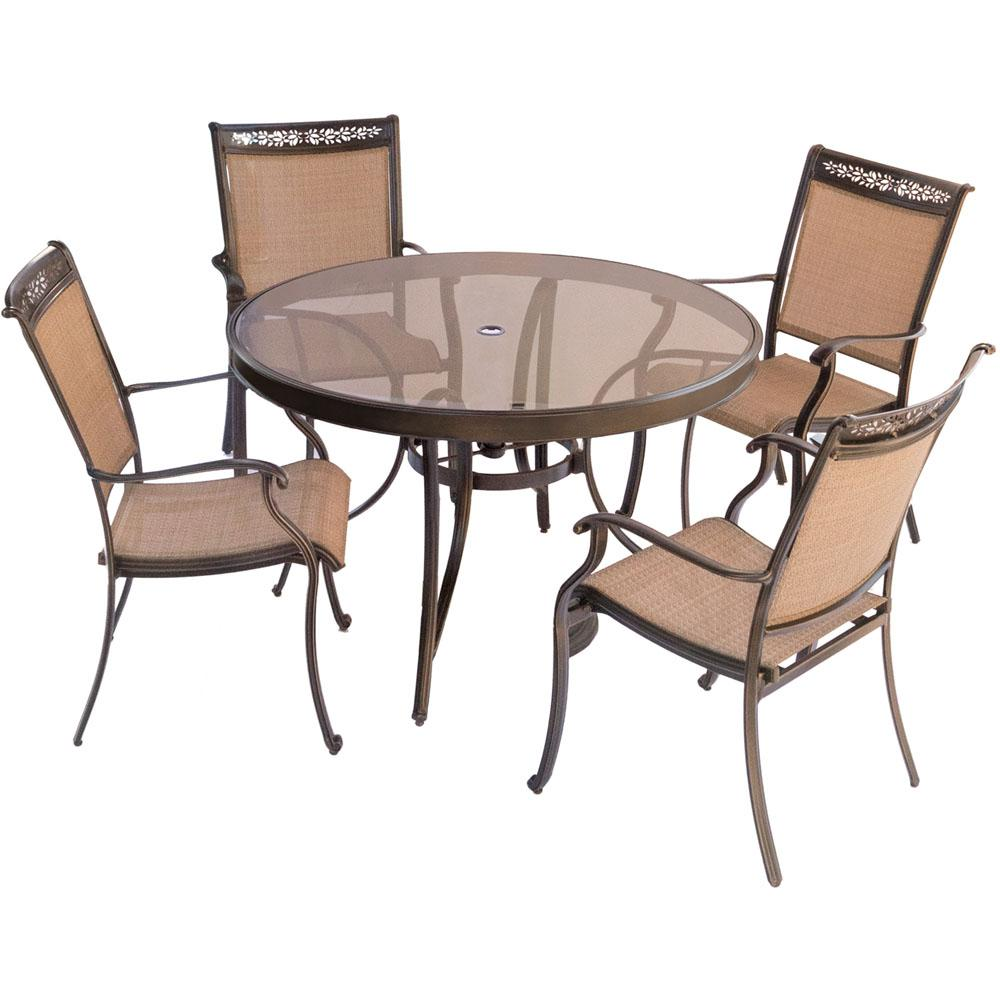 Hanover fontana 5 piece aluminum round outdoor dining set with glass top table