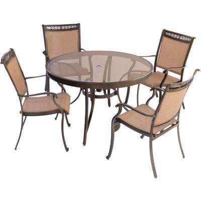 Fontana 5-Piece Aluminum Round Outdoor Dining Set with Glass-Top Table