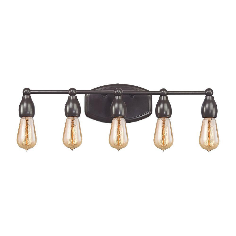 Titan lighting vernon 5 light oil rubbed bronze vanity light tn 75372 the home depot for Home depot bathroom lighting bronze