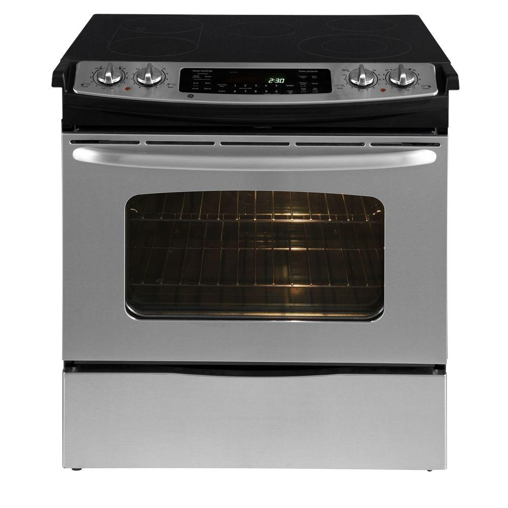 GE CleanDesign 4.1 cu. ft. Slide-In Electric Range with Self-Cleaning Convection Oven in Stainless Steel