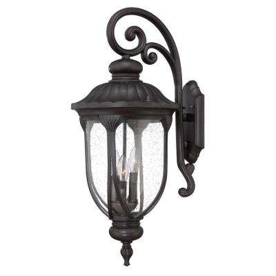 Laurens Collection 3-Light Black Coral Outdoor Wall Mount