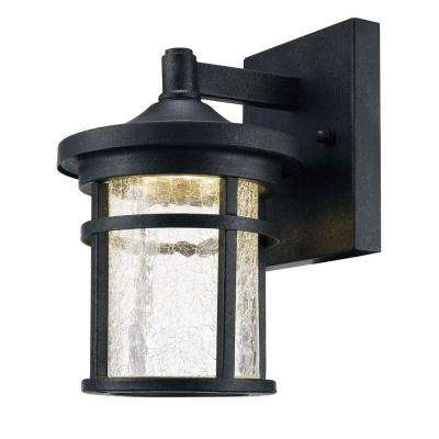 Aged Iron Outdoor LED Wall Lantern with Crackle Glass