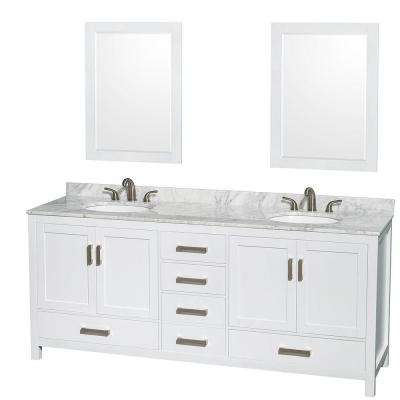 Sheffield 80 in. Double Vanity in White with Marble Vanity Top in Carrara White and 24 in. Mirrors