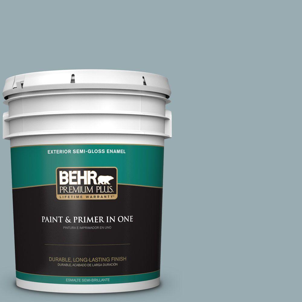 BEHR Premium Plus 5-gal. #BXC-28 Bucolic Blue Semi-Gloss Enamel Exterior Paint